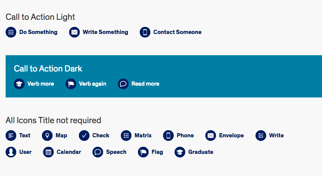 screenshot of call to action link variations