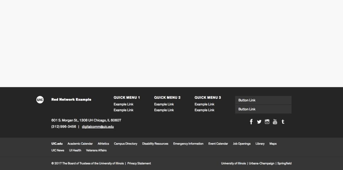 screenshot of footer menus
