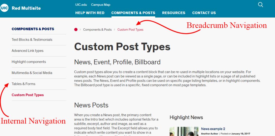 breadcrumb and internal navigation examples