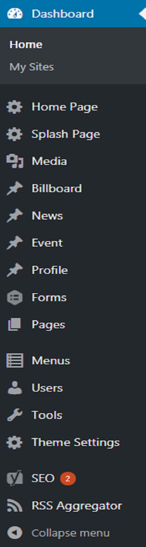 Dashboard menu screenshot for administrator role