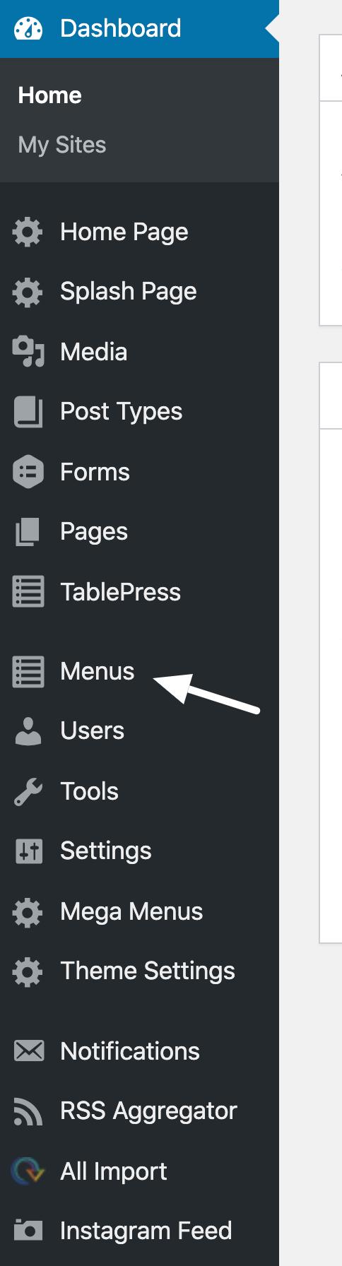 menu listing in RED CMS dashboard
